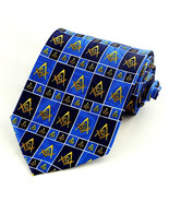 Masonic Squares Mens Necktie Freemason Compass Square Mason Blue Neck Tie - $15.79
