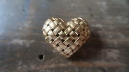 Vintage Gold Tone Anna Klein Basket Weave Heart Brooch 3.4cm - $29.69