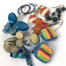 Vtg Earring lot pierced colorful post dangler boho hippy Geo mixed mater... - $11.87
