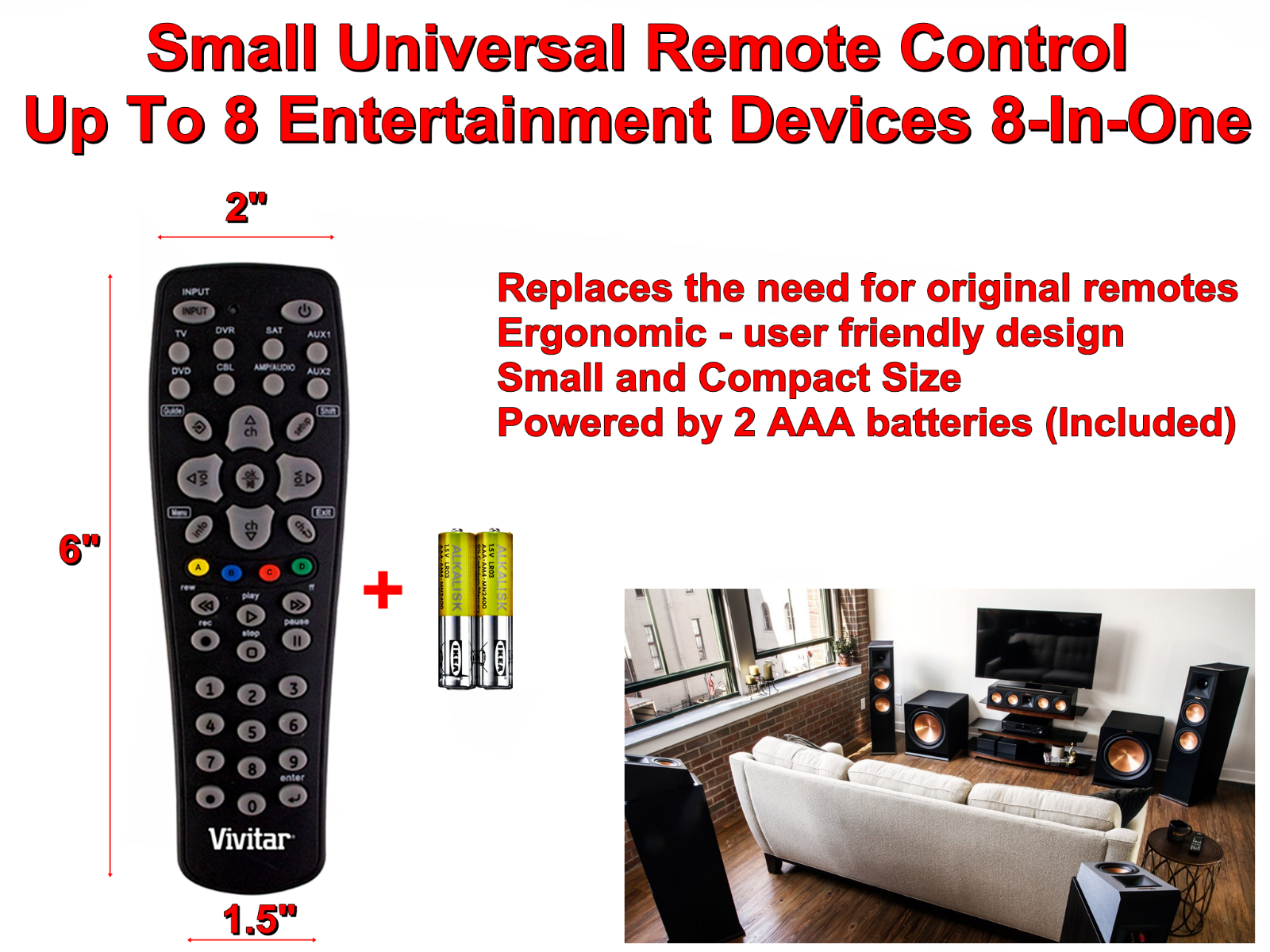 VIVITAR Small Universal TV Remote Control Up To 8 Entertainment Devices 8 in 1 - $19.10