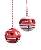 Christmas Bell Ornaments Set of 6 Metal Red & White Star Cut Outs Jingle 2.5 D image 1