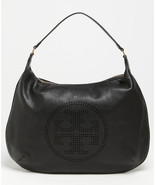 NWT Tory Burch Perforated Stack Logo Leather Hobo Bag Original BLACK $480 NEW - $360.00