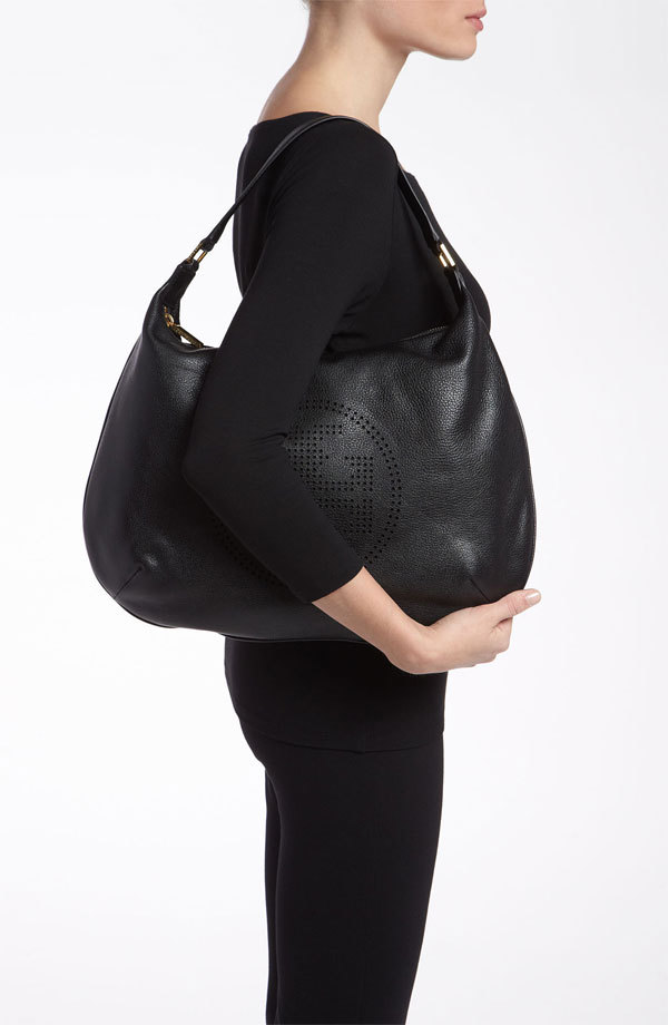 NWT Tory Burch Perforated Stack Logo Leather Hobo Bag Original BLACK $480 NEW