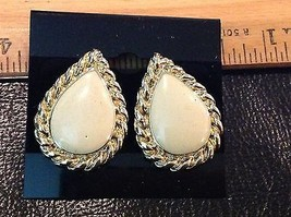 "1.25"" JJ Pearl Drop Gold-Colored Metal, Clear Rhinestones Vintage Post E... - $13.09"