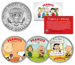 PEANUTS VALENTINES Snoopy Lucy Patty Charlie Brown JFK Half Dollar US 3-... - $19.95