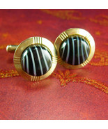 Glass stripe Cuff links Lines Vintage Cufflinks Set Black and Gray Strip... - $55.00