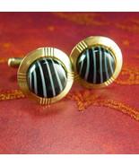 Glass stripe Cuff links Lines Vintage Cufflinks Set Black and Gray Striped Glass - $55.00
