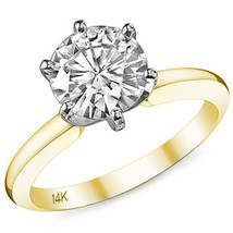 1.50 ct 14k Yellow / White Gold Round Cut Moissanite 6 Prong Engagement Ring - $772.20