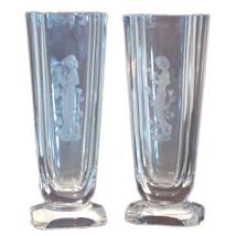 Pair of Art Deco style crystal wheel-carved vas... - $995.00