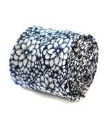 Frederick Thomas uomo aderente lino blu navy CRAVATTA CON bianco a fiori... - $24.46