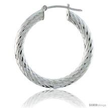 Sterling Silver Italian 3mm Tube Hoop Earrings Twist Design Diamond Cut, 1 3/8  - $53.73