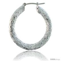 Sterling Silver Italian 3mm Tube Hoop Earrings Diamond Cut, 1 3/8 in  - $53.73