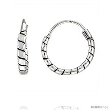 Sterling Silver Small Bali Hoop Earrings, 1/2in  diameter -Style  - $15.21