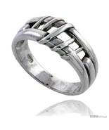 Size 10.5 - Sterling Silver Wire Wrapped Center Cut-out Wedding Band Rin... - $29.10