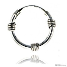 Sterling Silver Bali Style Endless Hoop Earrings, 2 mm tube 1/2 in round -Style  - $19.08
