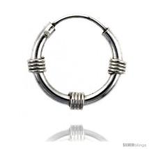 Sterling Silver Bali Style Endless Hoop Earrings, 2 mm tube 5/8 in  - $21.63
