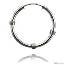 Sterling Silver Bali Style Endless Hoop Earrings, 2 mm tube 1 in  - $33.87
