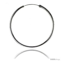 Sterling Silver Endless Hoop Earrings, thick 3 mm tube 2 3/8 in  - $51.69