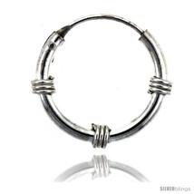 Sterling Silver Bali Style Endless Hoop Earrings, 2 mm tube 3/4 in  - $26.79
