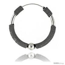 Sterling Silver Large Bali Hoop Earrings, 1 9/16in   - $79.80
