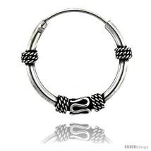 Sterling Silver Medium Bali Hoop Earrings, 15/16in  diameter -Style  - $19.91