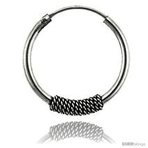 Sterling Silver Medium Bali Hoop Earrings, 1in  diameter -Style  - $19.91