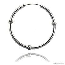 Sterling Silver Bali Style Endless Hoop Earrings, 2 mm tube 1 1/4 in  - $35.34