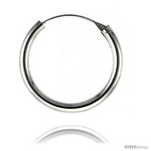 Sterling Silver Thick Endless Hoop Earrings, thick 3 mm tube 1 1/4 in  - $35.34