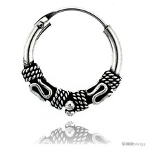 Sterling Silver Small Bali Hoop Earrings, 5/8in   - $20.65