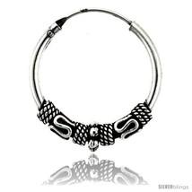 Sterling Silver Medium Bali Hoop Earrings, 7/8in   - $28.90