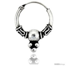 Sterling Silver Small Bali Hoop Earrings, 9/16in  diameter -Style  - $19.91
