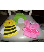 Set of 3 Bath Mitt Puppets - elephant, frog, bumble bee - $9.99