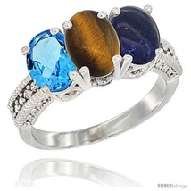E gold natural swiss blue topaz tiger eye lapis ring 3 stone 7x5 mm oval diamond accent thumb200
