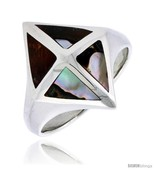 Size 6.5 - Sterling Silver Diamond-shaped Shell Ring, w/Brown & White Mo... - $35.64