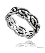 Size 7.5 - Sterling Silver Celtic Knot Wedding Band / Thumb Ring, 1/4 in... - $20.75