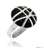Sterling silver gashed round ring w ancient wood inlay 13 16 21 mm wide thumbtall