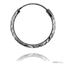 Sterling Silver Diamond Cut Hoop Earrings, 13/16in   - $10.90