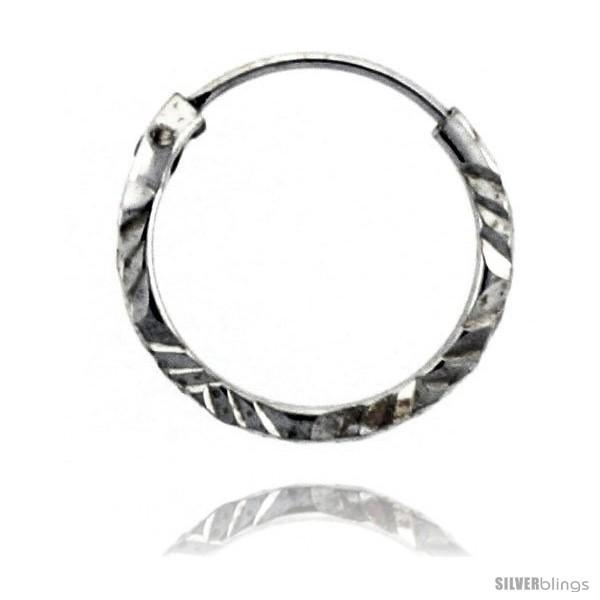 Sterling Silver Diamond Cut Hoop Earrings, 9/16in   - $7.79