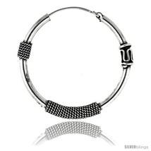 Sterling Silver Bali Hoop Earrings, 1 3/8in   - $49.55