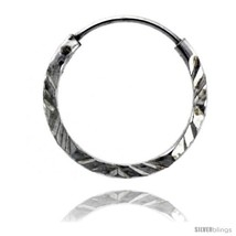 Sterling Silver Diamond Cut Hoop Earrings, 9/16... - $6.35