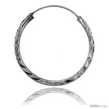 Sterling Silver Diamond Cut Hoop Earrings, 1in   - $12.46