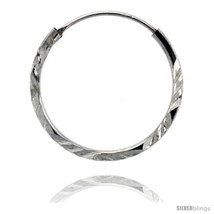 Sterling Silver Diamond Cut Hoop Earrings, 3/4in   - $9.35
