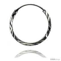 Sterling Silver Diamond Cut Hoop Earrings, 11/16in   - $9.35