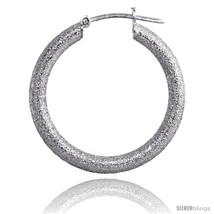 Sterling Silver Italian 3mm Tube Hoop Earrings Stardust finish, 1 1/16 in (26  - $44.11