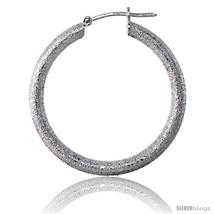 Sterling Silver Italian 3mm Tube Hoop Earrings Stardust finish, 1 1/4 in (31  - $51.43