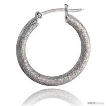 Sterling Silver Italian 3mm Tube Hoop Earrings Stardust finish, 7/8 in (23  - $36.70