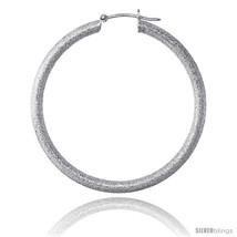 Sterling Silver Italian 3mm Tube Hoop Earrings Stardust finish, 1 5/8 in (42  - $71.74