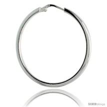 Sterling Silver Italian 2mm Square Tube Hoop Earrings, 1 3/8 in (35  - $32.57