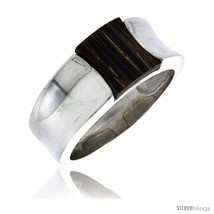 Size 7 - Sterling Silver Concave Ring, w/ Ancient Wood Inlay, 3/8in  (10... - $39.69