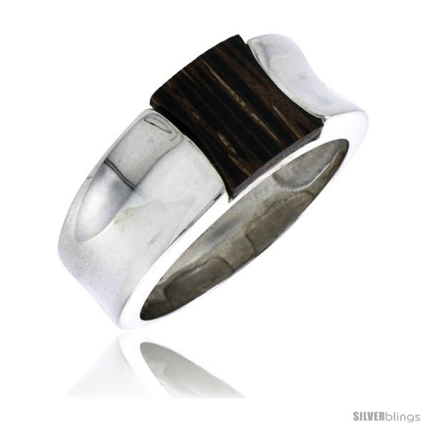 3//8 w//Ancient Wood Inlay Wide Size 10 10mm Sterling Silver Concave Ring